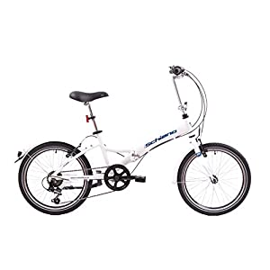 41meIT1Z6KL. SS300 F.lli Schiano Pure, Bici Pieghevole Unisex Adulto, Bianco-Blu, 20''