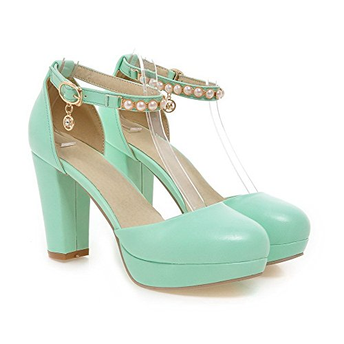 VogueZone009 Women's Round Closed Toe High Heels Soft Material Solid Buckle Pumps Shoes Green knP0A54