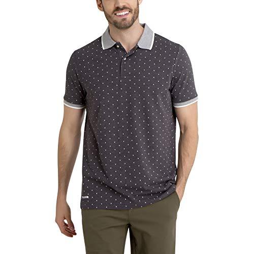 U.S. Polo Assn. Men's Poka Dot Printed Slim Fit Pique Polo Shirt Dark Gray L