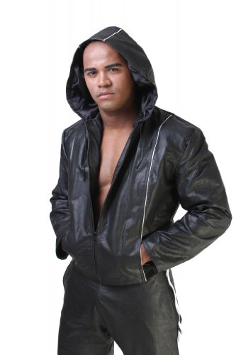 Whip It Leather's Men's Hoodie Leather Jacket M Black by Whip It