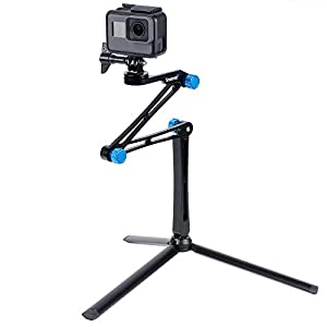 Smatree Foldable Pole/Monopod for GoPro Hero Fusion/6/5/4/3+/3/Session Cameras,Ricoh Theta S/V,Action Cameras, Cell Phones, 3-Way Adjustable Aluminium Selfie Stick with Tripod Stand