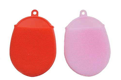 Silicone Multipurpose Antibacterial Sponges Mildew Free & BPA Free Nonstick Oil Design FDA Approved (Red, Pink) Use For Cleaning, Scrubbing, and Stove Ovens in Kitchens. Bathrooms, Bedrooms, Jewelry.