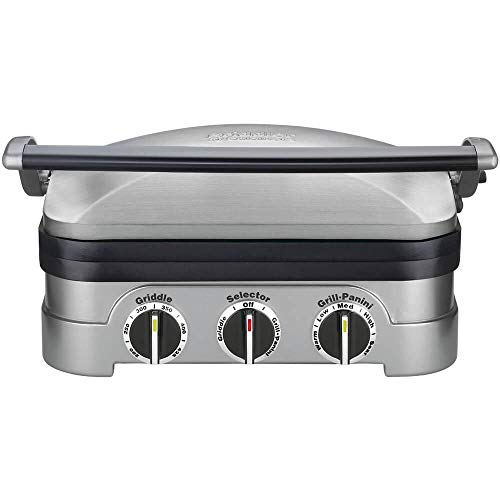 Cuisinart 5-in-1 Grill Griddler Panini Maker Bundle with Waffle Attachment GR-4N – Includes Grill and Waffle Plates