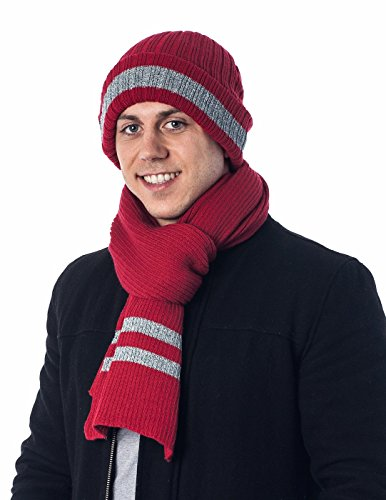 Men's Two-Toned 3M Fleece Thinsulate Ribbed Knit Scarf and Hat Set RedGrey
