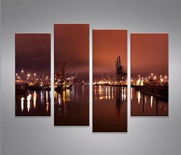 Bild Bilder Auf Leinwand Hafen Hamburg 4er XXL Poster Leinwandbild Wandbild Dekoartikel Wohnzimmer Marke Islandburner