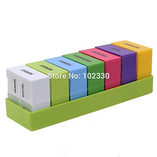 Storage Boxes Bins - 100pcs Portable Pill Box Weekly 7 Day Medicine Holder 28 Slot Folding Vitamin Health Care Cases - Wooden Container Weekly Plastic Cut Pill Tablet Box Day Jigsaw