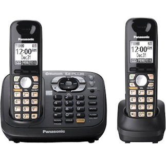 - Panasonic KX-TG6582T DECT 6.0 PLUS Link-to-Cell via Bluetooth Cordless Phone with Answering System, Metallic Black, 2 Handsets