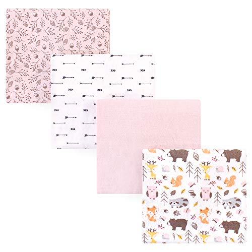 Hudson Baby 4-Piece Flannel Receiving Blanket, Girl Pinecone, One Size (Solid Pine Blanket)