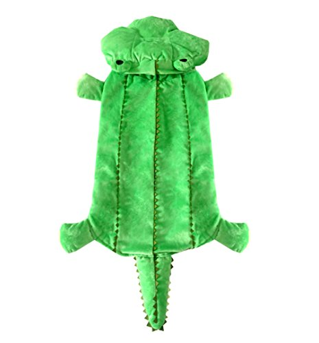 SMALLLEE_LUCKY_STORE Medium Dog Winter Crocodile Hooded Coat Costume for Female/Male, Leopard, XX-Large]()
