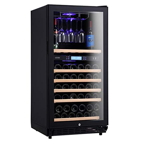 Free-Standing Wine Cellar Refrigerator, Dual Temperature Zone Wine/Beverage Cooler Fridge, Wine Glass Hanger, Touch Control/Digital Temperature Display