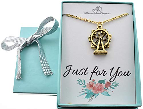 (Ferris wheel charm necklace in gold plated pewter on a 18 gold stainless steel cable chain with two inch extender. Ferris wheel charm.)