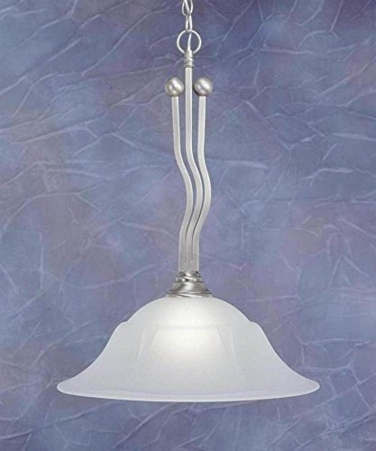 Brushed Nickel Finish 1 Light Downlight Pendant w Dew Drop Glass