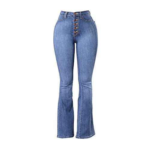 Women Plus Size Slim Fit High Waist Button Fly Flare Jeans Teen Girls Fashion Casual Stretch Bell Bottom Denim Pants