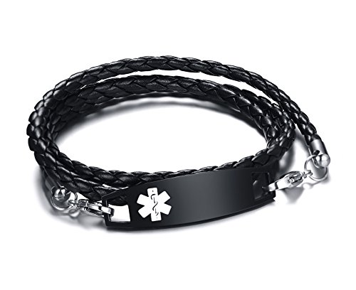 (Personalized Engraving Black Braided Leather Multi-strand Triple Wrap Stainless Steel Medical Alert ID Bracelets)