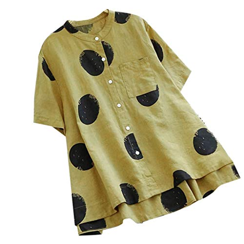 - Willow S Women Faahion 2019 Plus Size Vintage Polka Dot Print Line O-Neck Button Short Sleeve Top Blouse T-Shirt Yellow