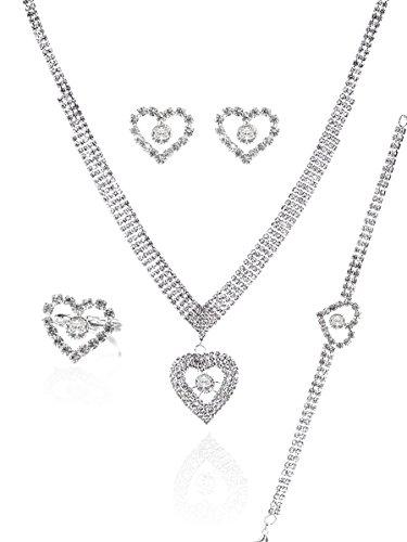 MOOCHI Cubic Zirconia Heart Shape Necklace Earrings Bracelt Ring Jewelry Set for Wedding Bridesmaids Prom (Platinum Set Wedding Jewelry)