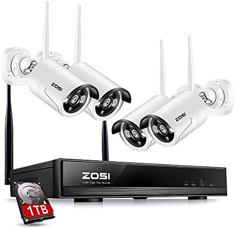 ZOSI 4PC Megapixel 720P Wireless IP Camera System 100ft 30m Night vision with 4 Channel Security HD Network IP NVR Wifi Kit Support Smartphone Remote view with 1TB Hard Drive Renewed