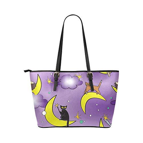 Snygga handväskor för kvinnor tecknad kreativ vacker katt husdjur läder handväskor väska orsaksala handväskor dragkedja axel organiserare för damer flickor kvinnor handväska väska