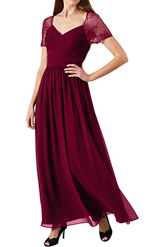 Festkleid Kurzarm Partykleider Damen Ivydressing Neu Abendkleider Grape Weinrot Spitze Lang 2017 Chiffon fUvwcIvWq