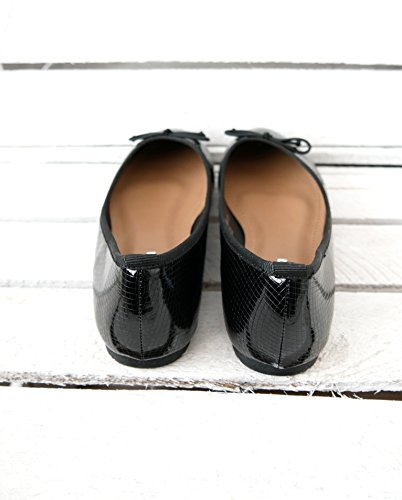 Damen Schuhe klassiche Lack-Optik Ballerinas mit Schleife (8237) Schwarz Lack