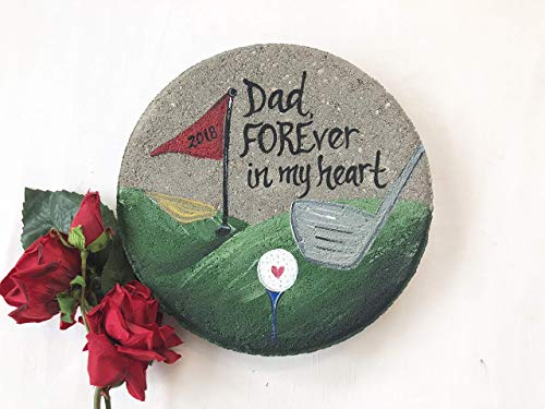 (Hand Painted PERSONALIZED Golf Garden Stone, Gift for Dad, Memorial Garden)