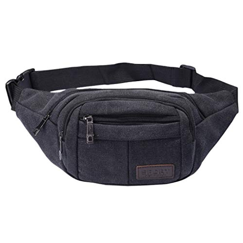 Women Neutral Canvas Fanny Pack Adjustable Belt Chest Casual Bag Outdoor Sports Fanny Pack (Black) ()