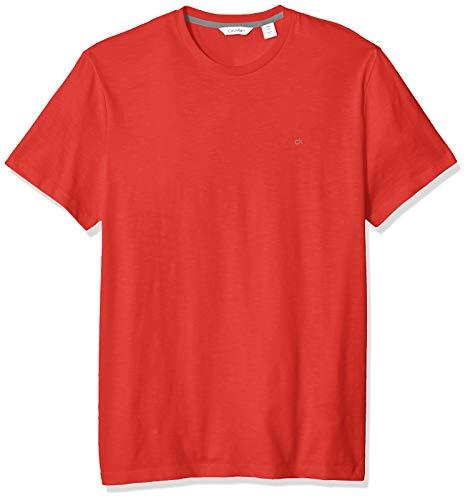Calvin Klein Men's Short Sleeve Crew Neck T-Shirt, Poinsettia slub, X-Large