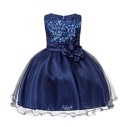 HUANQIUE Baby Girls Wedding Pageant Dress Princess Tutu Dress Navy 6-9Month]()