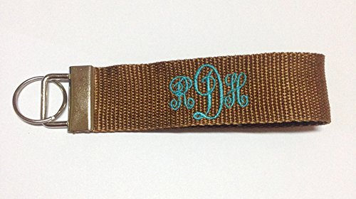 Personalized Key Ring, Monogram Key Fob, Custom Key Fob (Brown)