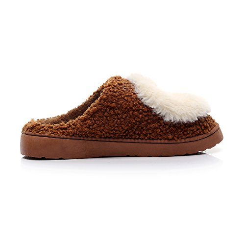 Slip House Slippers Brown Womens Havina Lined Fleece On Indoor Plush And Smile Clog Mens 7gRSqRp0w
