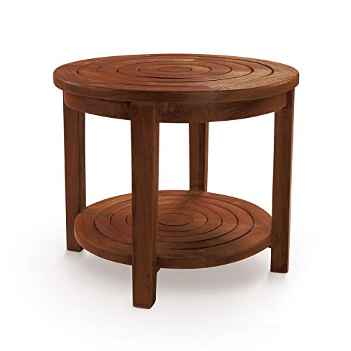 Teak Toilet - HydroTeak Pali Original Round Teak Bath Stool With Shelf, Teak Wood Bath Chair for Spa, Pool, Bathroom, Coated with Teak Oil (HTST02) (FULLY ASSEMBLED)