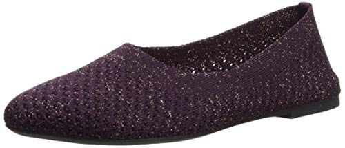 (Skechers Women's Cleo-Star Daze-Metallic Engineered Knit Skimmer Ballet Flat, Purple, 8.5 M US)