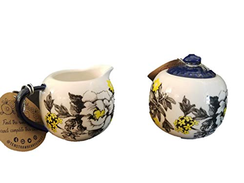 - Ten Strawberry Street Two Piece Cream and Sugar Set, White, Black, Yellow, Blue 3 inches