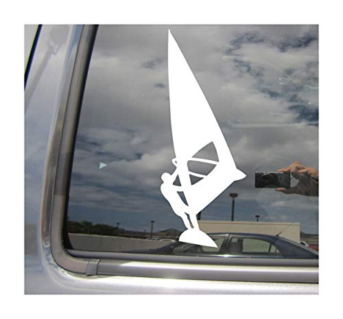 (Right Now Decals - Windsurfer Windsurfing - Wind Surfing Sailing Cars Trucks Moped Helmet Hard Hat Auto Automotive Craft Laptop Vinyl Decal Window Wall Sticker 04161)