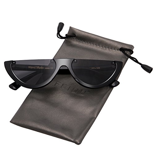 FEIDU Retro Half Round Half Frame Sunglasses for Women Modern Polarized Unisex FD9015 (Black/Black, - Modern Sunglasses