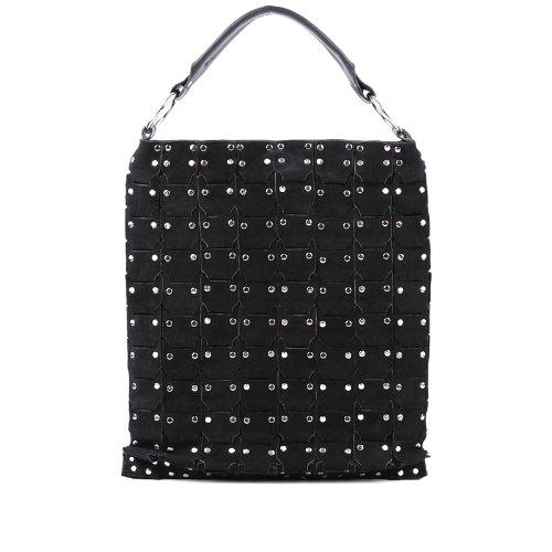 """FEYNSINN cartera estilo """"shopper"""" FLICKA - piel genuina negro - bolso de hombro - L - bolso de mano para (34 x 44 x 2 cm) negro-s"""