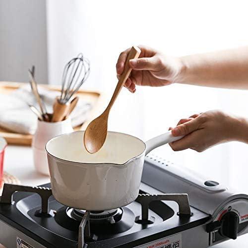 MissZZ Casserole en émail Sauce rétro Sauce Sauce Soupe Lait Pan 15cm Plats de Cuisine pour Le café, Le Beurre, Le Lait, Le thé, Les œufs (Blanc)