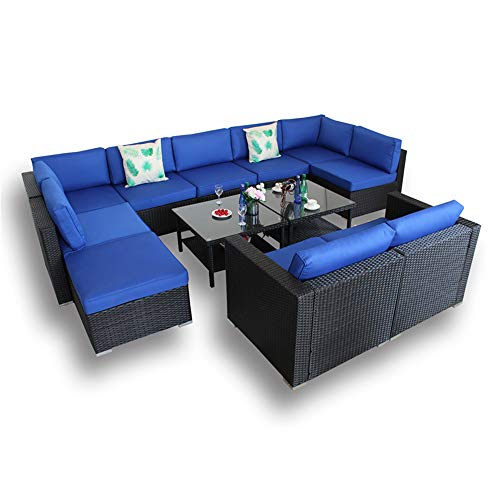Outdoor Brown Rattan Wicker Sofa Set Garden Patio Furniture Cushioned Sectional Conversation Sets-Easy Assembled(Royal Blue Cushions,12 Piece)