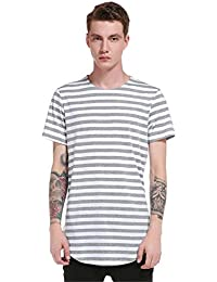 Men's Pullover Short Sleeve Stripe Irregular Hem Round Collar Casual Personality T-Shirt