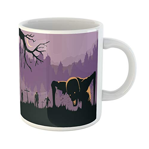 Semtomn Funny Coffee Mug Party Silhouette of Zombies Horde Resurrected Out the Ground About 11 Oz Ceramic Coffee Mugs Tea Cup Best Gift Or Souvenir ()