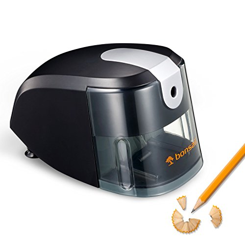 Bonsaii Electric Pencil Sharpener, Heavy Duty Helical Blade, Ideal for School,Home and Office, Black (Upgraded version P111-A) (Sharpener Pencil Electric)