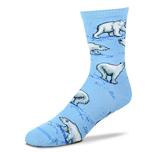 (For Bare Feet Originals Novelty Crew Sock - Playful Polar Bear; Medium. Comes with a Helicase Sock Ring)