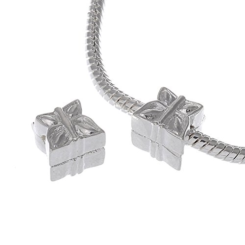 - RUBYCA 10pcs White Silver Plated Clip Lock Stopper Clasp Beads fit European Charm Bracelet Model 080