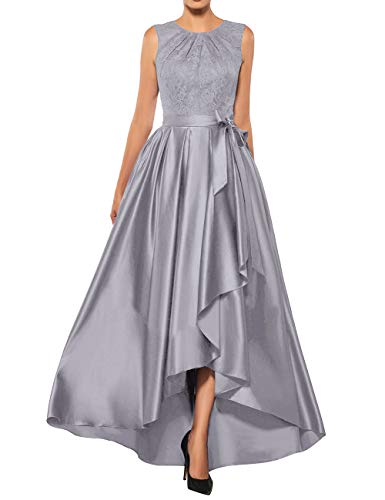 Mother of The Bride Dresses Lace High Low Formal Evening Party Gown A Line Prom Dress Silver US10 ()