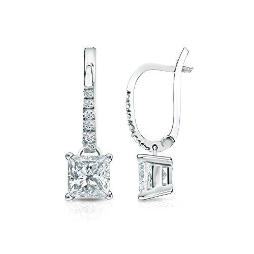 IGI Certified Platinum Princesscut Diamond Dangle 4-Prong Basket Earrings (1 1/4ct,O. White, I2-I3) (4 Carat Princess Cut Diamond Ring Price)