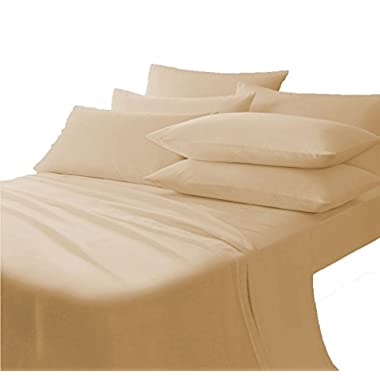 710 Thread Count 100% Egyptian Cotton 1 piece Soft Italian Finish Flat Sheet Queen Top Sheet Beige