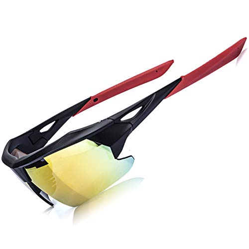 Zeaker Polarized Sport Sunglasses, Men Women Baseball Running Cycling Fishing Golf Tr90 Ultralight Frame with 3 Interchangeable Lenses