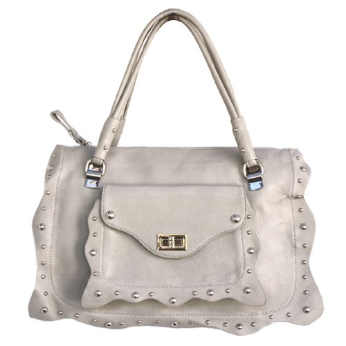 Silver Gray Satchel With Frill Studded Medium Turnlock Fever® Wave Silver Front qvH8f
