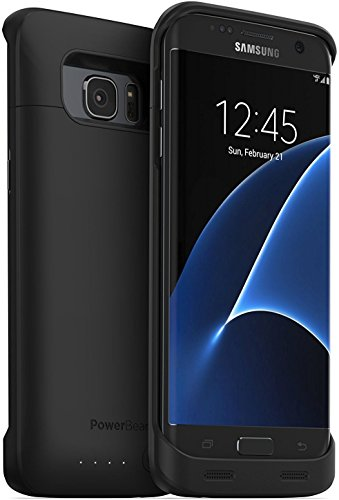 PowerBear Samsung Galaxy S7 Edge Battery Case [5,000 mAh] High Capacity External Battery Charger for the Galaxy S7 Edge - Black [24 Month Warranty and Screen Protector Included]