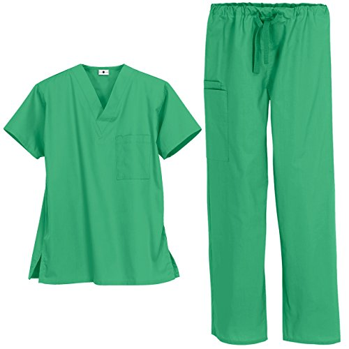 Unisex Medical Uniform Scrub Set - Includes V-Neck Top and Drawstring Pant (XS-3X, 13 Colors) (Medium, Jade) -
